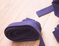 Yoga pilates studio strap. Yoga pilates and body & mind studio gym fitness room and belt strap for group classes Stock Photography