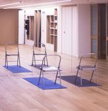 Yoga pilates studio gym. Yoga pilates and body & mind studio gym fitness room and chauir prop for group classes Royalty Free Stock Image