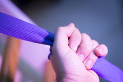Yoga pilates fitness band strap. In gym for sports and strength training Royalty Free Stock Images