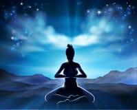Yoga Pilates-Haltungs-Schattenbild-Frauen-Konzept Stockbild