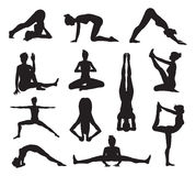 Yoga or pilates poses silhouettes Royalty Free Stock Image