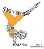 Yoga, Pilates. Vector silhouette of the athlete from the thematic words. Royalty Free Stock Image
