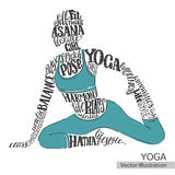 Yoga, Pilates. Vector silhouette of the athlete from the thematic words. Stock Photo