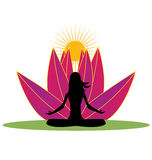 Yoga and pink lotus flower logo Stock Photography