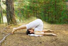 Yoga plough pose Stock Photo