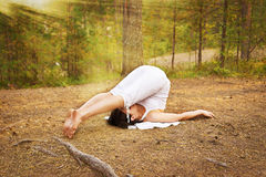 Yoga plough pose Royalty Free Stock Image