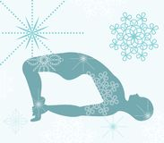 Yoga pose. With decorative elements in blue teal tones stock illustration
