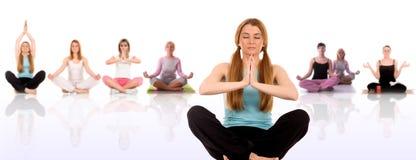 Yoga pose. Beautiful girl multiple yoga series Royalty Free Stock Photography