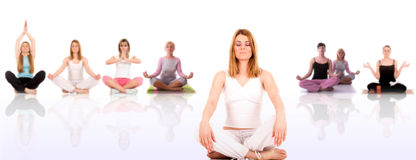 Yoga pose. Beautiful girl multiple yoga series Stock Images