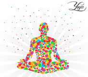 Yoga pose on a beige background with color circles - vector eps10. Created yoga pose on a beige background with color circles - vector eps10 stock illustration