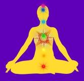 Yoga pose and chakra points mandala Royalty Free Stock Photo