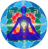 Yoga pose and chakra points mandala Royalty Free Stock Photos