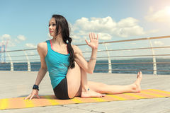Yoga. Pose curling Royalty Free Stock Image