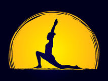 Yoga. Pose designed on moonlight background graphic vector Royalty Free Stock Photo