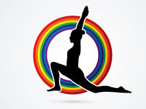 Yoga. Pose designed on rainbows background graphic vector Royalty Free Stock Photo