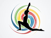 Yoga. Pose designed on spin wheel background graphic vector Royalty Free Stock Image