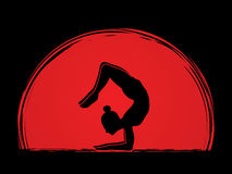 Yoga. Pose designed on sunset background graphic vector Stock Photos