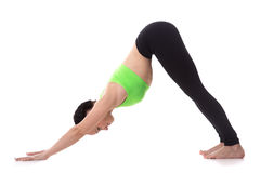 Yoga pose downward-facing dog Stock Photo