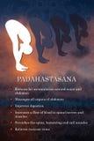 Yoga pose infographics, benefits of practice. Padahastasana Stock Images