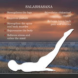 Yoga pose infographics, benefits of practice. Salabhasana Stock Photos