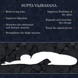Yoga pose infographics, benefits of practice. Supta Vajrasana Royalty Free Stock Photos
