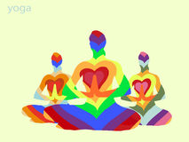 Yoga. Pose of the lotas the colors of the rainbow Royalty Free Stock Images