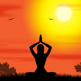 Yoga Pose Means Body Calm And Meditating. Yoga Pose Showing Enlightenment Countryside And Harmony Stock Photography