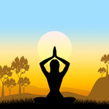 Yoga Pose Means Scenic Green And Meditate Stock Photography