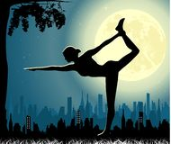 Yoga pose at moonlight background. Vector yoga illustration. Poster for yoga class with a city backdrop Stock Photography