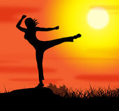 Yoga Pose Represents Wellbeing Relaxation And Spirituality Royalty Free Stock Images
