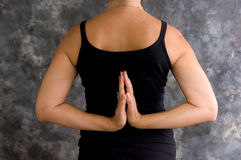 Yoga pose reverse prayer asana Stock Photo
