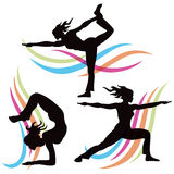 Yoga Pose. A set of silhouette woman yoga pose people stock illustration