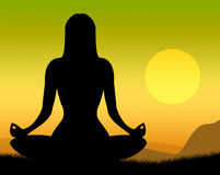 Yoga Pose Shows Poses Peaceful And Meditation. Yoga Pose Representing Harmony Poses And Balance Stock Image