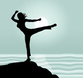 Yoga Pose Shows Relaxation Enlightenment And Body Royalty Free Stock Photos