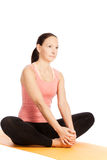 Yoga pose in studio Royalty Free Stock Images