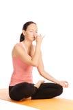 Yoga pose in studio Royalty Free Stock Image