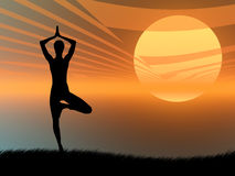 Yoga pose at sunset vector illustration