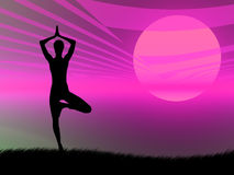 Yoga pose at sunset stock illustration