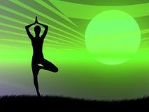 Yoga pose at sunset royalty free illustration