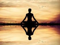 Yoga pose at sunset. Illustration of yoga pose at sunset Stock Photo