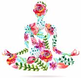 Yoga Pose, Watercolor Bright Floral Illustration Stock Photo