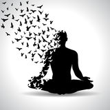 Yoga Pose With Birds Flying From Human Body, Black And White Yoga Poster Stock Images