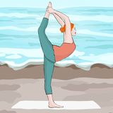 Yoga pose, woman doing stretching legs, leg split, vector multicolored drawing portrait. Cartoon girl is engaged in Royalty Free Stock Photos