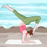 Yoga pose, woman handstand, vector multicolored drawing portrait. Meditation, is engaged in gymnastics cartoon girl. Makes a stand on the hands against the Stock Images