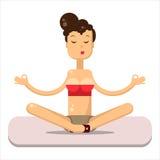 Yoga poserar den plana vektorn Kvinnasammanträde på det mattt Royaltyfri Bild