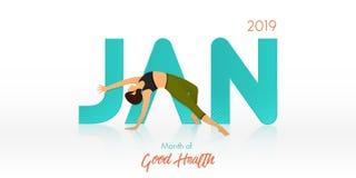 Yoga poserar för det Januari banret Rutinmässig titelrad för yoga för kalendermall Månad av god hälsabegreppet också vektor för c vektor illustrationer