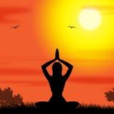 Yoga poserar stillhet och att meditera för hjälpmedelkropp Arkivbild