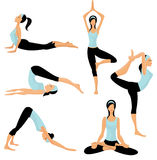 Yoga poses. Young women in Yoga poses set, illustration Stock Image