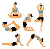 Yoga poses. Isolated on white Stock Photos