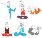 Yoga poses. In the white background Royalty Free Stock Image